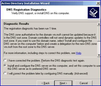 DCPROMO DNS Windows Server 2003.