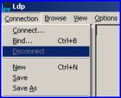 LDP main menu Connect, connections