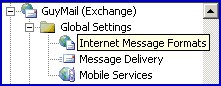 Global Settings Internet Message Formats.  Microsoft Exchange 2003 Server