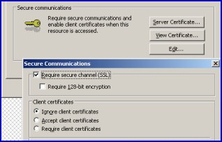 IIS Secure Communications for OWA  - Require Secure Channel SSL