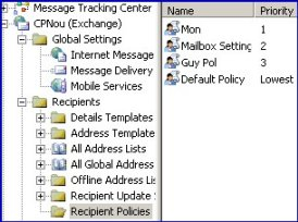Recipient Policy Folder Exchange server 2003