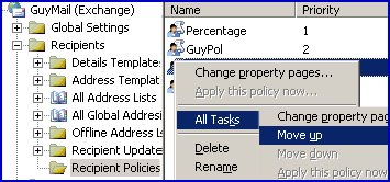 Recipient Policy Apply this policy now Exchange 2003