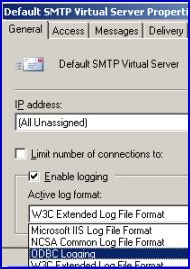 SMTP Logging, ODBC, Microsoft IIS, W3C Extended Log File format