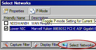 P-mode Promiscuous mode capture for network monitor.