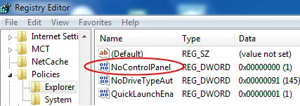 Disable Control Panel NoControlPanel