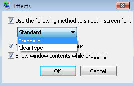 ClearType settings in Vista