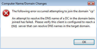 The following error occurred attempting to join the domain.