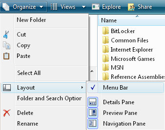 Vista Explorer Layout