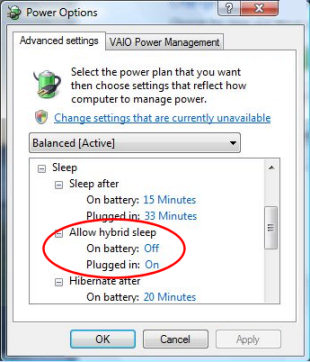 Windows Vista Hybrid Sleep (No Hibernate Option)