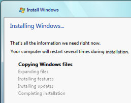 Installing Windows Vista - Copying and Expanding the files