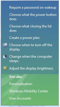 Vista Power Options