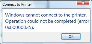 error 0x00000035 Windows cannot connect to the printer