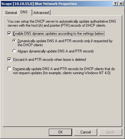 to the DHCP scope, not the DHCP server icon, and certainly not the DNS ...: http://www.computerperformance.co.uk/w2k3/services/DHCP_DNS.htm