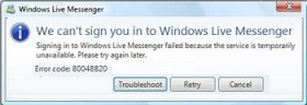 Error Code 80048820 MSN Messenger