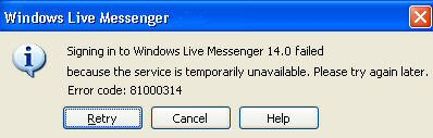 MSN Messenger 8.0 Error Code - 81000314