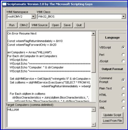 Scriptomatic 2.0 for WMI and VBScript Root\cimv2