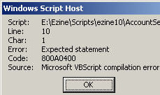 Code 800A0400 Expected Statement VBscript error