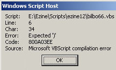 Code 800A03EE VBScript Expected ')'