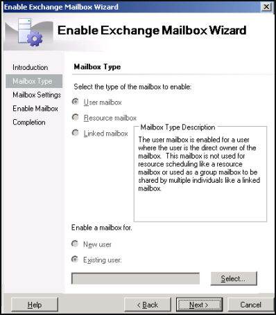 Enable Exchange Mailbox Wizard