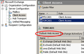 OWA Virtual Directories for Exchange CAS