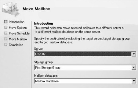 Exchange Server 2007 Move Mailbox Wizard