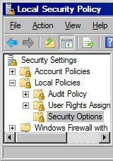 Local Security Polciy.  Turn Off nagging Server 2008 UAC