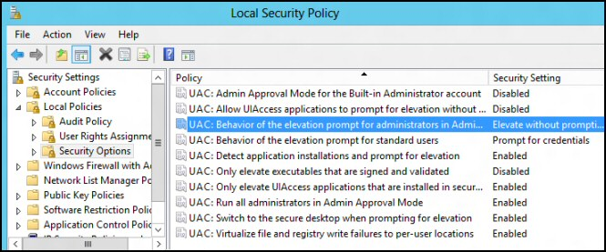 Elevate withoug prompting UAC Windows Server 2012