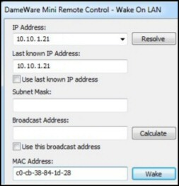 Dameware Wake on Lan
