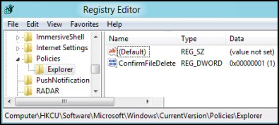ConfirmFileDelete Registry Windows 8