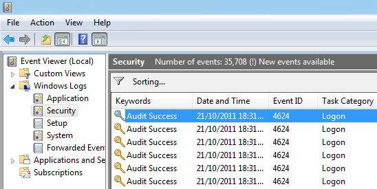 Windows 8 Event Viewer Security