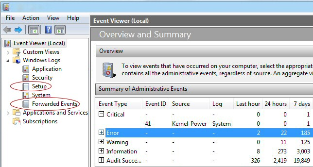 Windows 8 Event Viewer 3 Pane