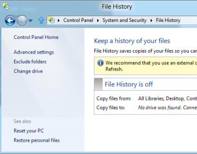 Create Windows 8 File History