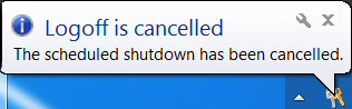 Windows 8 Shutdown cancel /a