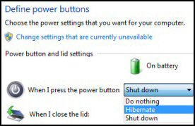 Windows 8 Define Power Button Settings