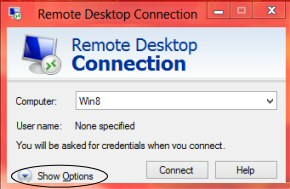Windows 8 Remote Desktop MSTSC