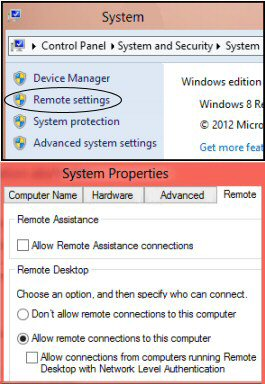 Configure Remote Desktop Connection for Windows 8