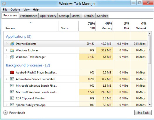 Windows 8 Task Manager Process