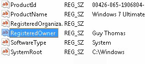 RegisteredOwner - Windows 8 Registry Hack