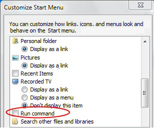 Add Run to Windows 7 Start Menu
