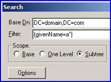 LDP Search Filter using Base Dn=domain.