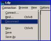 LDP main menu Connect, connections