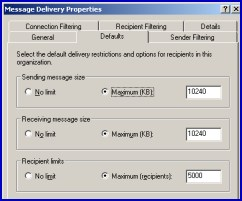 Delivery Restrictions. Global Settings - Message Delivery.  Microsoft Exchange 2003 Server