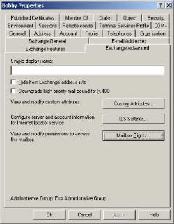 Exchange 2003 Advanced Tab