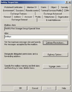 Exchange 2003 General Tab Delivery Options, Limits