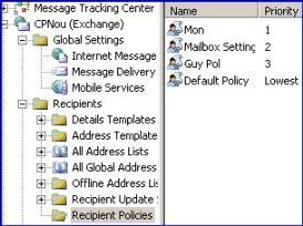 Recipient Policy Folder Exchange server 2003