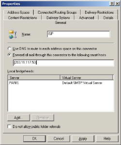 SMTP connector Routing in Exchange 2003