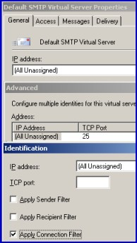 SMTP Virtual Server Properties.  Advanced Identification Apply Connection Filter