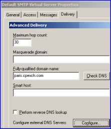 Default Virtual SMTP Server.  Advanced Delivery Exchange 2003 Smart Host