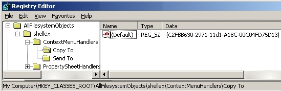 Copy To Registry Hack for ContextMenuHandlers