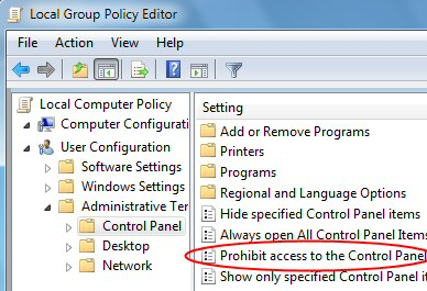 Prohibit Access to Control Panel